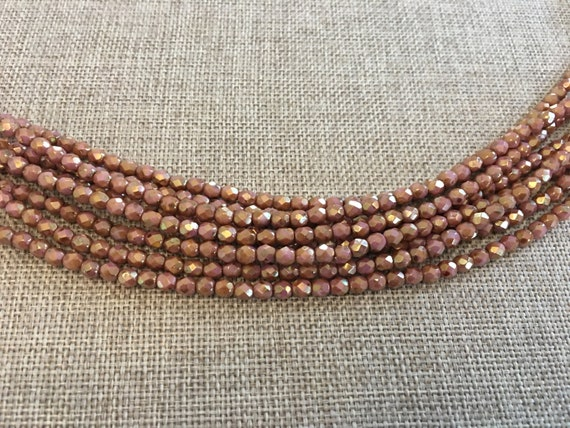 Opaque Rose Gold Topaz Picasso Fire Polish Beads, Round Faceted 4mm Fire Polish Beads, 50 Beads Per Strand
