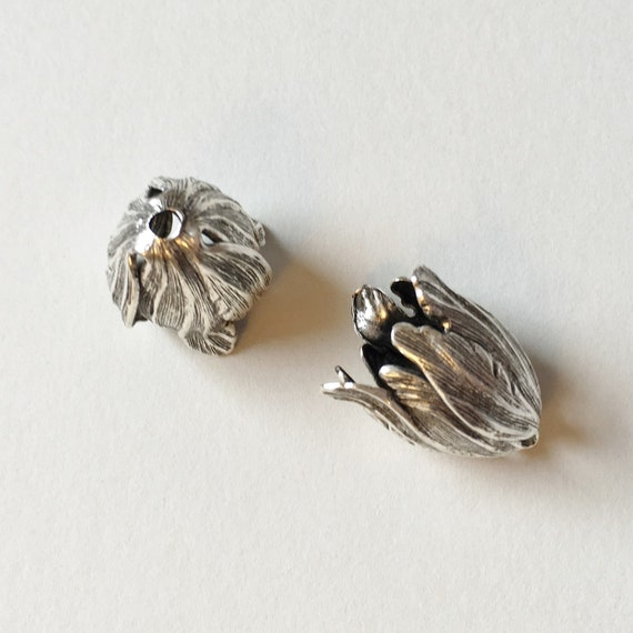 Antique Silver Blooming Tulip End Caps, 20x17mm Antique Silver, Blooming Tulip 2 piece Set, End Caps, Made in the USA