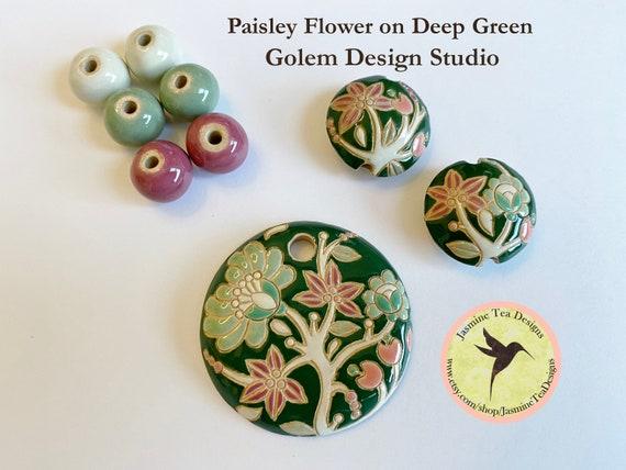 Retro Paisley Flower on Deep Green 9 Piece Set, Large Round Pendant, 2 Medium Lentils, 6 Solid Rounds by Golem Design Studio