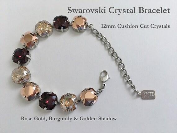 Rose Gold, Burgundy And Golden Shadow Swarovski Crystal Bracelet, 12mm Cushion Cut Crystals, Adjustable Length