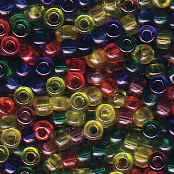 Miyuki Size 8 Transparent Rainbow Blend, Size 8 Seed Bead Mix in Blue, Red, Yellow Tones, Miyuki Seed Bead Mix, 5 Inch Tubes, 22 Grams