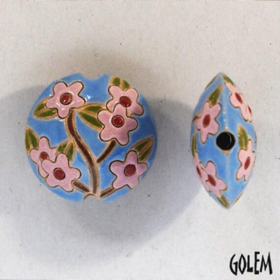 Pink Sakura Lentil Beads, Round Pendant, Artisan Focal Bead, Pendant Bead, Golem Studio Designs, Medium Lentil