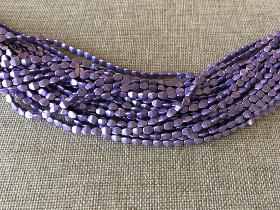 Crocus Petal Pinch Beads, 5x3mm Pinch Beads, 50 Pinch Beads Per Strand, Color Trends Saturated Metallic