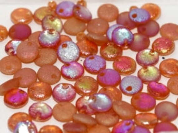 6mm Etched Crystal Orange Rainbow Lentil Beads, Single Hole Top Drilled Lentil Beads, 50 Pieces