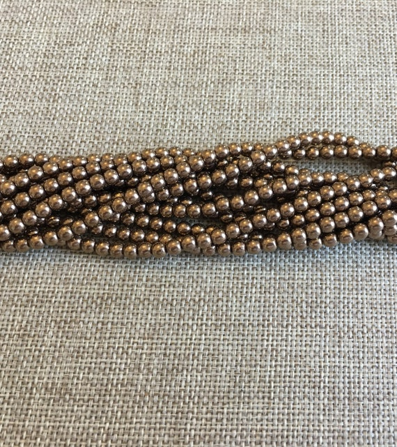 Bronze 4mm Glass Rounds, 100 Beads Per Strand, Featured Starman Czech Glass Bead Color For The 2019 Toho Challenge