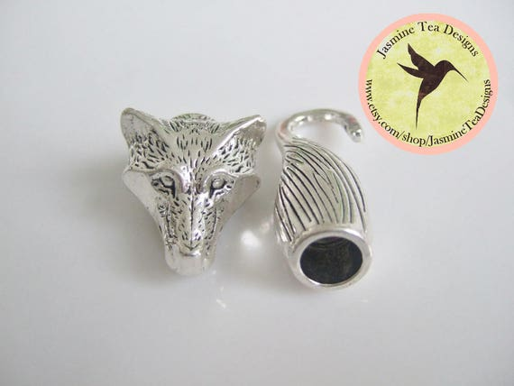 8mm Antique Silver Plated Wolf Head With Tail End Caps With Hook Closure, 8mm Silver Clasp Set, Kumihimo Closures