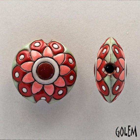 Pink And Green Flower Mandala Beads, Flower Mandala Pendant Bead, Large Hole Beads For Kumihimo, Medium Lentil