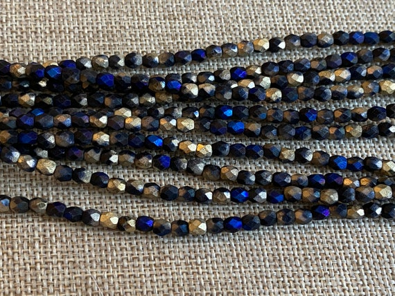 California Blue Matte 4mm Fire Polish Beads, Faceted 4mm Fire Polish Beads, 40 Beads Per Strand