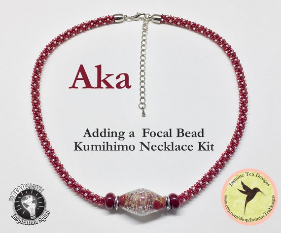 Adding A Focal Bead, AKA Kumihimo Necklace Kit, Cranberry Season 18 Inch Necklace Kit, Yatsu Kongoh-gumi Z Spiral, Revised Tutorial
