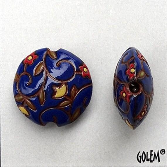 Spirals And Flowers On Deep Blue, Artisan Focal Bead Grouping, Golem Design Studio Beads