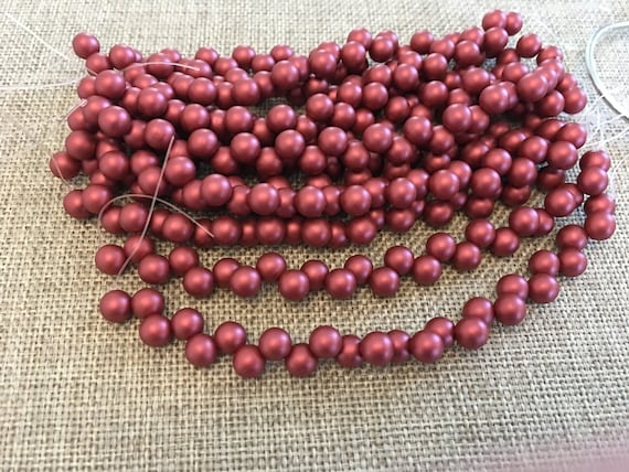 Satin Metallic Sangria 6mm Top Hole Round Beads, Color Trends, 25 Beads Per Strand