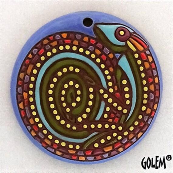 Mosaic Chameleon Focal Bead, Wonderful Barcelona Mosaic Design and Colors, Large Round Pendant Bead, Golem Design Studio