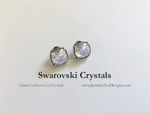 Swarovski Crystal Earrings, Antique Silver Bezel Setting, Post Earrings, 12mm Cushion Cut Fancy Stone Swarovski Crystals