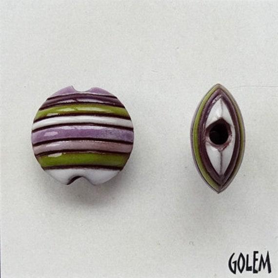 Funky Stripes in Purple, White and Green, Ceramic Lentil Bead, Small Hand Carved Lentil Bead, Golem Design Studio Beads