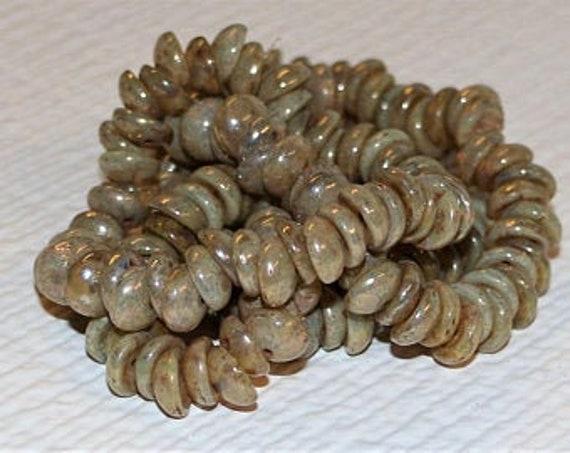 Opaque Green Picasso Piggy Beads, 4x8mm Piggy Beads, 50 Beads Per Strand