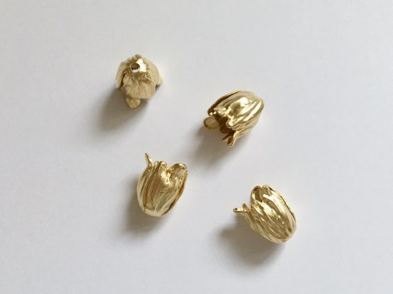 Shiny Gold End Caps, Petite End Caps 11x9mm, Blooming Tulip 2 piece Set, Shiny Gold Brass End Caps, Made in the USA