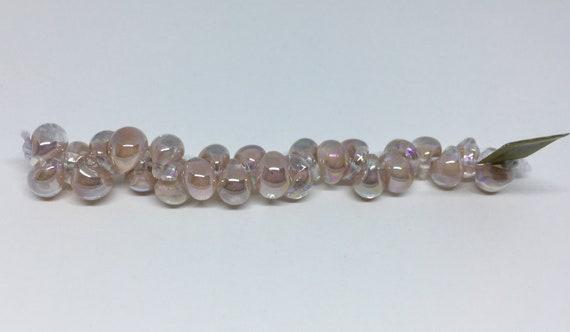 Pink Blush  Unicorne Beads, Boro Teardrops, 25 Beads Per Strand