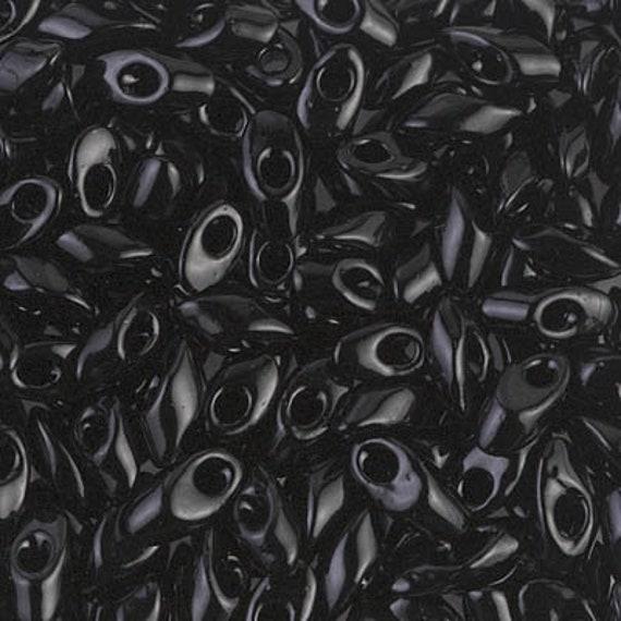 Black, Miyuki 4x7mm Long Magatama Beads, 12 grams, Miyuki LMA 401