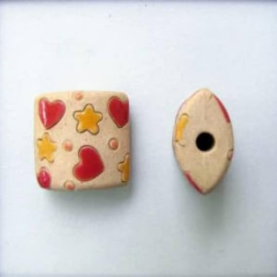 Yellow Stars and Red Hearts Pendant Bead, Golem Design Studio, Artisan Ceramic Pendants, Beads for Kumihimo