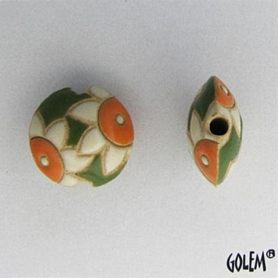 White Daisy On Green Glazed Background, Ceramic Lentil Bead, Small Hand Carved Lentil Bead, Golem Design Studio Beads