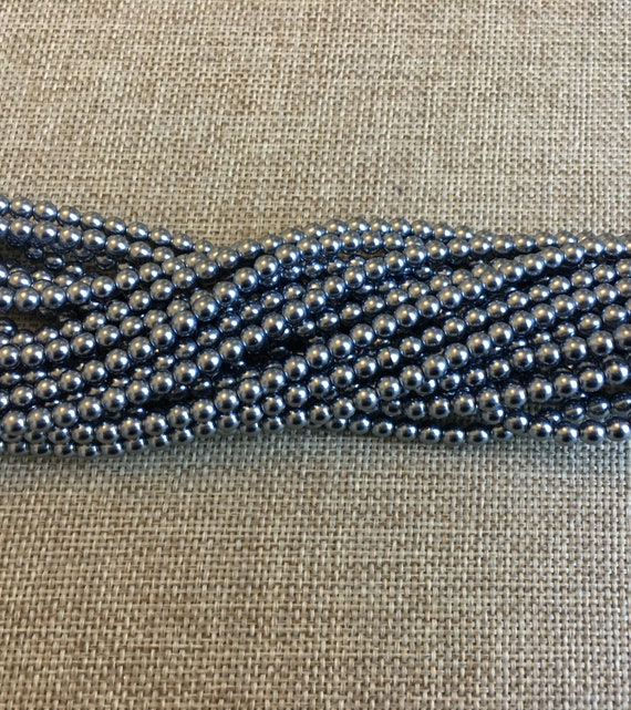 Grey Blue 4mm Alabaster Glass Pearls, 120 Pearls Per Strand