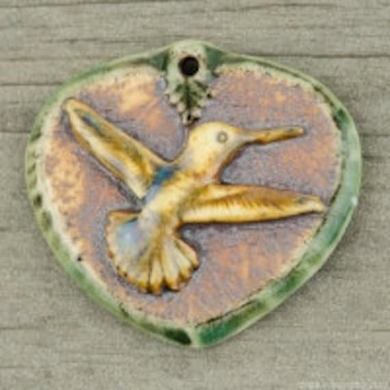 Hummingbird Porcelain Pendant, High Fired Porcelain Pendant Leaf With Hummingbird Design Gold Multi-Color Glaze Green Rim over an Iron Wash