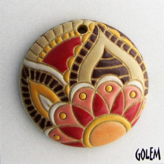 Warm Earth Tone Paisley Pendant, Pendant Bead, Round Ceramic Pendant Bead, Golem Design Studio Beads