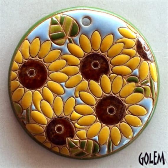 Sunflower Pendant, Large Round Sunflower Pendant, Carved Sunflowers, Sunflower Pendant