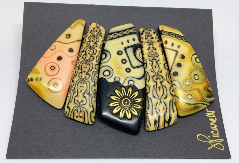 Polymer Clay Artist Julie Picarello Enamel 5 Piece Pendant Set Polymer 23K Gold Leaf And Metallic Powder Create This Mixed Media Pendant