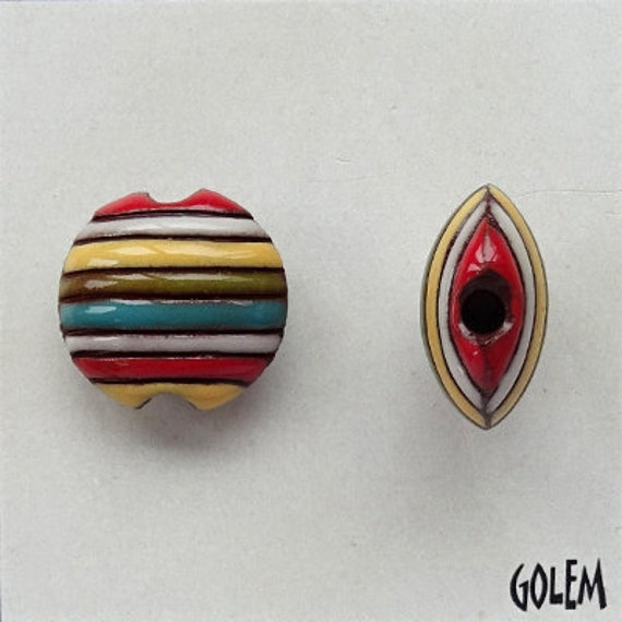 Funky Stripes in Red, Yellow, Blue and Green, Ceramic Lentil Bead, Small Hand Carved Lentil Bead, Golem Design Studio Beads