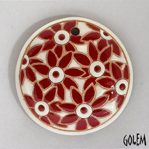 Red Petal Flowers On White Background Pendant, Round Domed Ceramic Pendant Bead, Golem Design Studio Beads, 1.5 Inches Round
