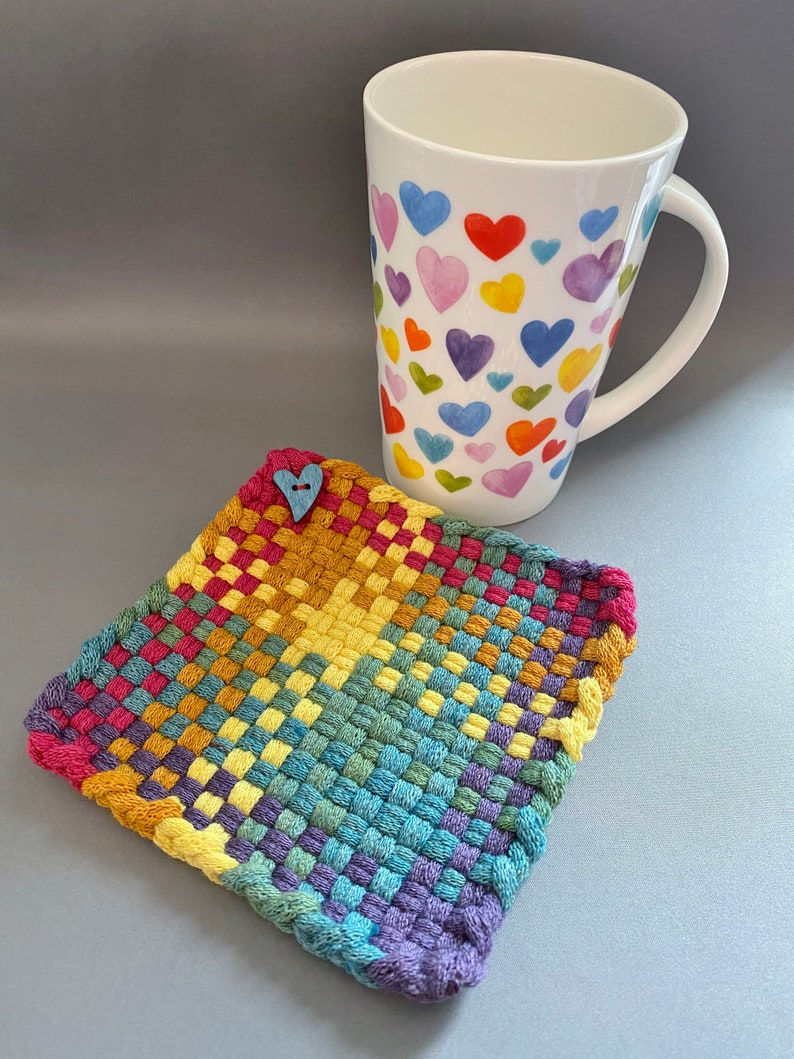 Rainbow Wool Potholder Naturally Dyed Wool Potholder 5x5 Inch Rainbow With Blue Wooden Heart