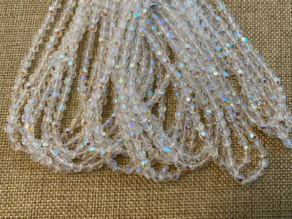 Crystal Transparent With AB Finish, Fire Polish Beads, Round Faceted 4mm Fire Polish Beads, 50 Beads Per Strand