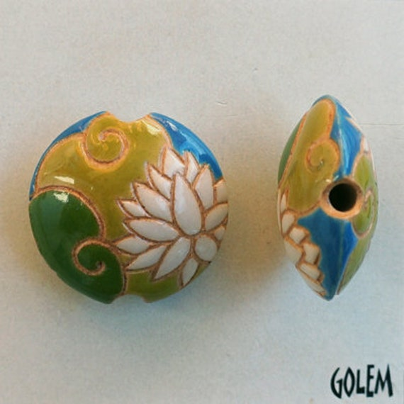 White Lotus on Green and Ochre Background Bead, Small Lentil Pendant Bead, Hand Crafted Pendant Bead