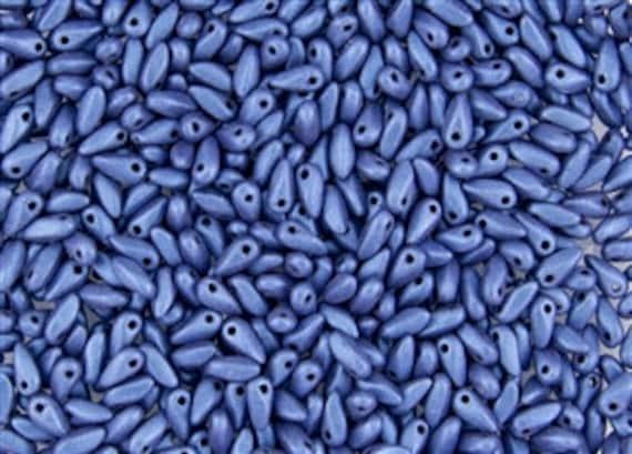 Metallic Suede Blue Mini Dagger Beads, 2.5x6mm Mini Dagger Beads, 100 Pieces Metallic Suede Blue Mini Dagger Beads
