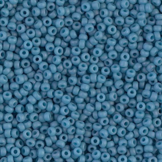 Miyuki Size 11 Matte Opaque Pale Denim, Size 11 Seed Beads Color Number 2074, 5 Inch Tubes