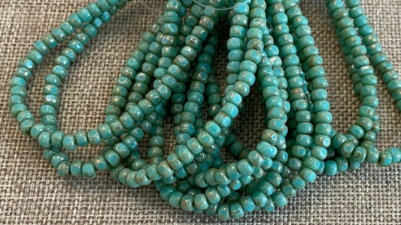 Sea Green with Picasso 3-Cut Matubo Fire Polish Beads, 3x4mm, 50 Beads Per Strand, 1mm Center Hole, Trica Beads