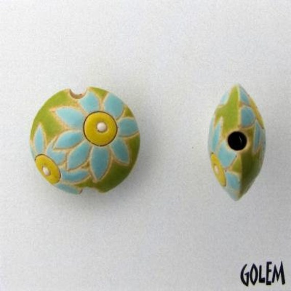 Blue Petals Flowers on a Line Green Background, Ceramic Lentil Bead, Small Hand Carved Lentil Bead, Golem Design Studio Beads