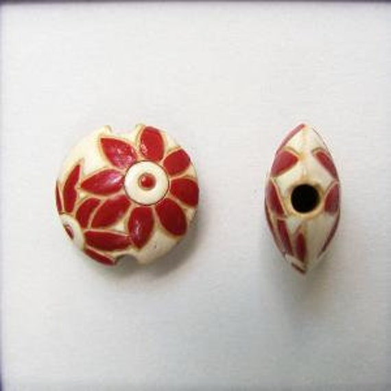 Red Petals Flowers on a White Background, Ceramic Lentil Bead, Small Hand Carved Lentil Bead, Golem Design Studio Beads