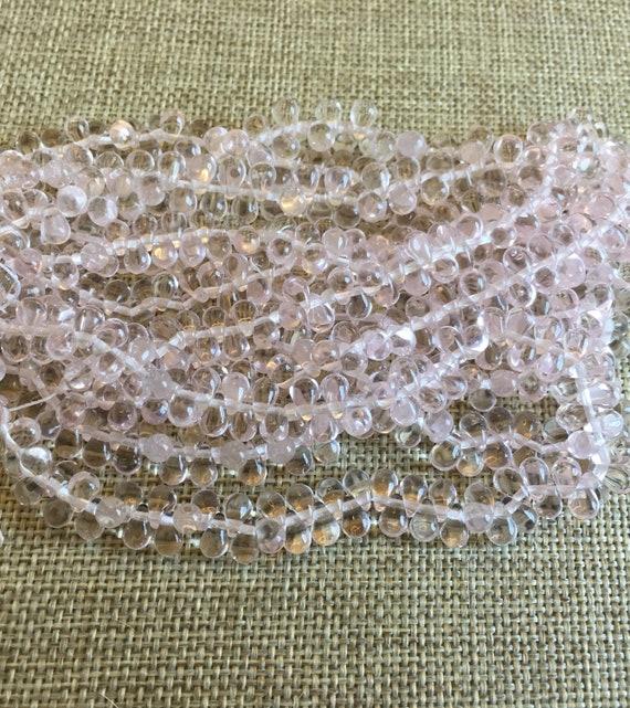 6x4mm Rosaline Tear Drop Beads, Transparent, 100 Teardrops Per Strand