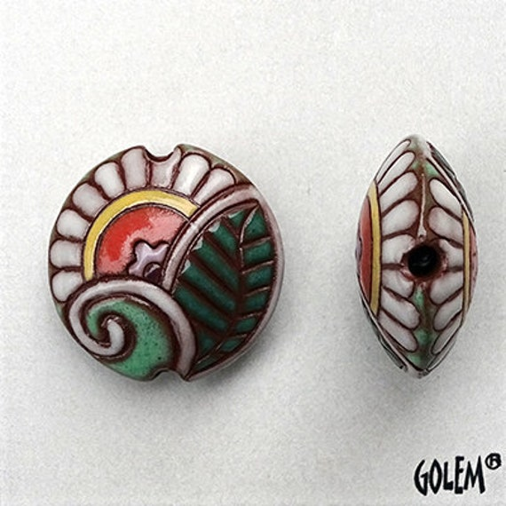 Paisley Spiral And Foliage Bead with Yellow, Green, Terracotta and White, Lentil Bead, Pendant Bead, Hand Crafted Pendant Bead