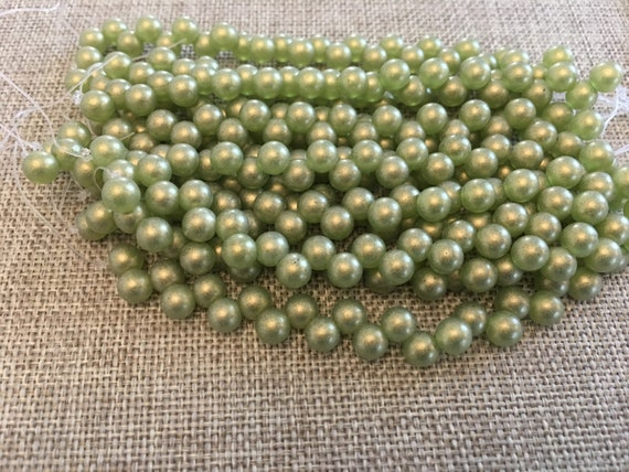 Sueded Gold Olivine, 6mm Top Drilled Round Beads, 25 Beads Per Strand