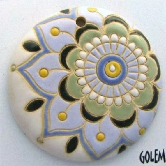 Large Flower Paisley, Light Color Tone Paisley Flower, Cream, Greens, Perwinkle, Hand Carved Ceramic Pendant Bead, Golem Design Studio Beads