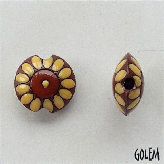 Sunflower Terracotta Lentil Beads, Pendant Beads, Golem Design Studio