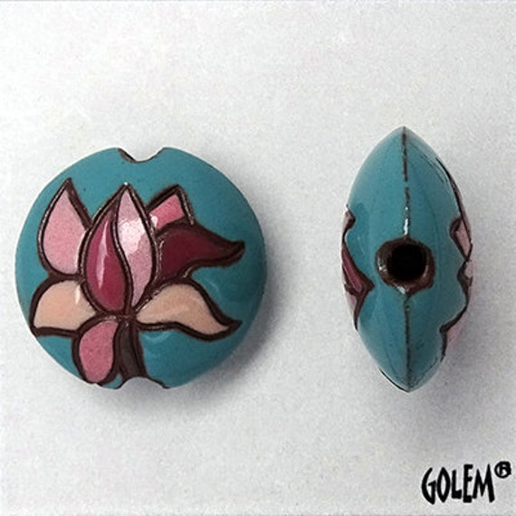 Vintage Rose Magnolia Blossoms on a Teal Background Lentil Beads, Focal Beads,  Golem Design Studio, Pendant Lentil Beads