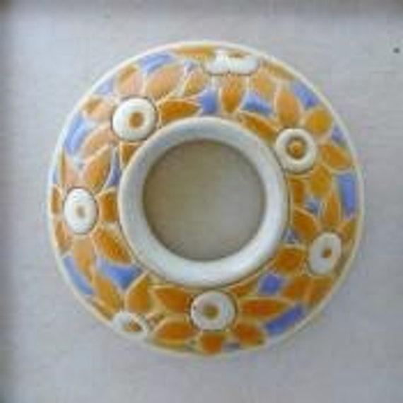 Bright Yellow Flowers On Light Blue, Donut Ceramic Pendant Bead, Golem Design Studio Beads, 39mm Round