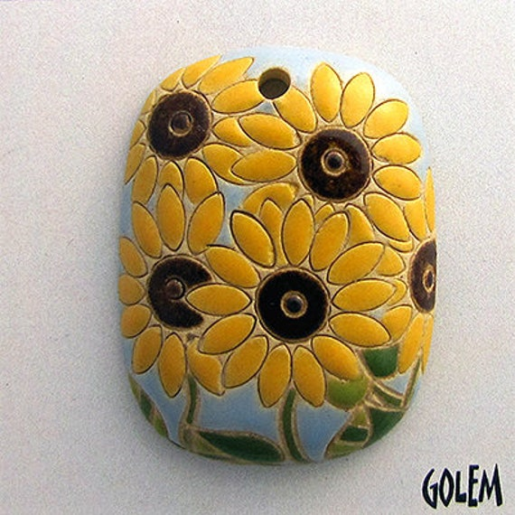 Sunflower Rectangular Pendant, Hand Carved Ceramic Pendant Bead, Golem Design Studio Beads