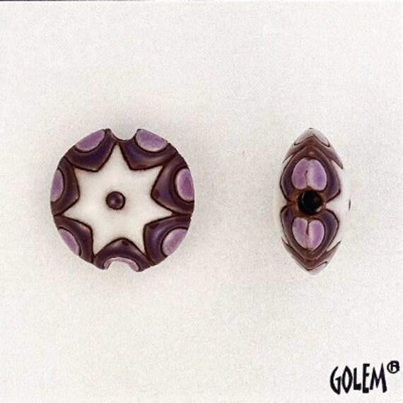 Sun Design in Deep Purple, Lilac and White, Ceramic Lentil Bead, Small Hand Carved Lentil Bead, Golem Design Studio Beads