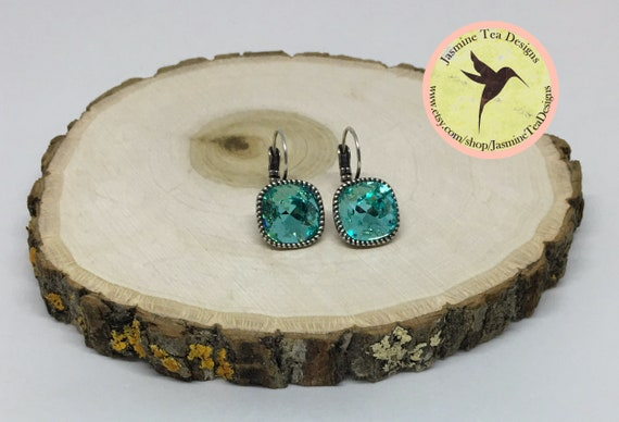 Swarovski Indicolite Crystal Earrings Set In Antique Silver Plated Lever Back Setting