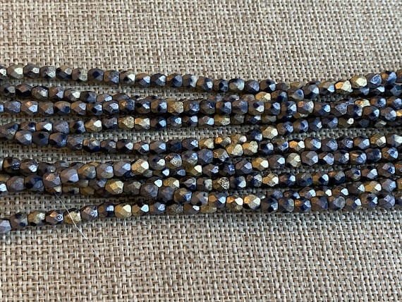 California Matte Graphite 4mm Fire Polish Beads, Faceted 4mm Fire Polish Beads, 40 Beads Per Strand